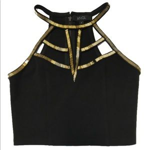 Black crop top with gold bead detail